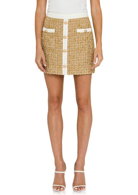 Womens  Tweed Button Down Mini Skirt