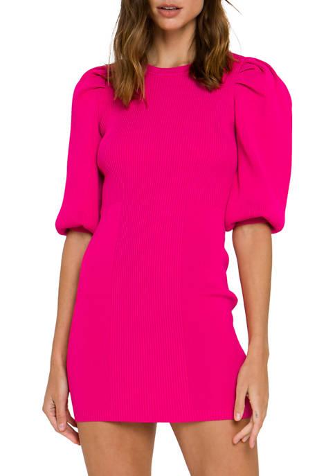 Womens   Puff Sleeve Knit Dress