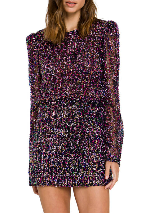 Endless Rose Womens Multi Sequin Top