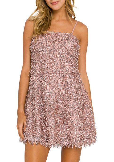 Endless Rose Womens Fringed Flare Mini Dress