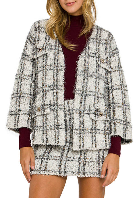 Endless Rose Womens LUREX® Check Cardigan