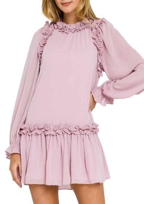 Ruffle Detail Chiffon Dress