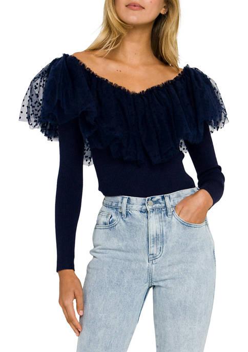 Womens Dot Mesh Ruffle Knit Top