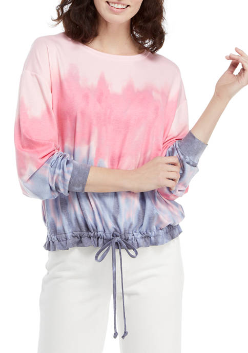 Crown & Ivy™ Womens Long Balloon Sleeve Tie-Dye