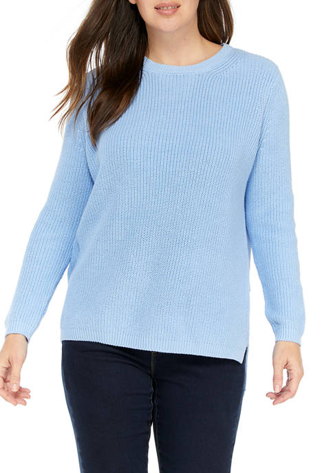 Crown & Ivy™ Womens Long Sleeve Shaker Stitch
