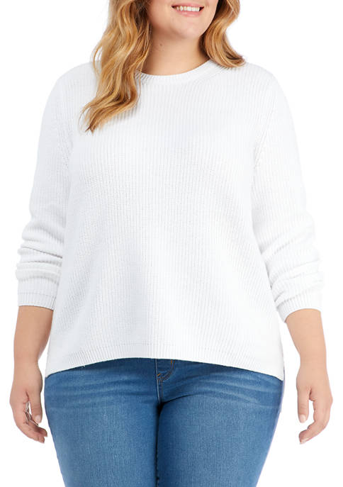 Plus Size Long Sleeve Stitched Sweater