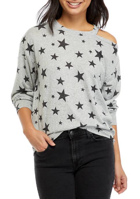 Juniors Hacci Cutout Printed Pullover