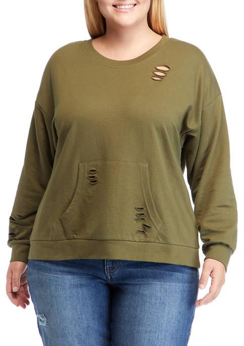 Full Circle Trends Plus Size Distressed Crew Sweatshirt