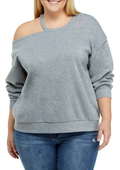 JOLIE & JOY Plus Size Asymmetrical Cutout Sweatshirt