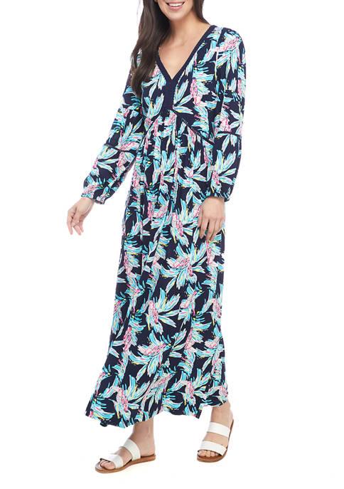 Crown & Ivy™ Womens Long Puff Sleeve Printed