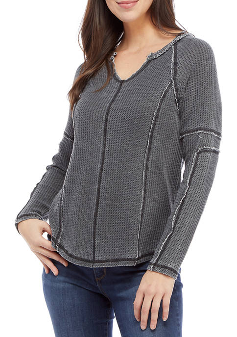 Womens High Low Thermal Pullover