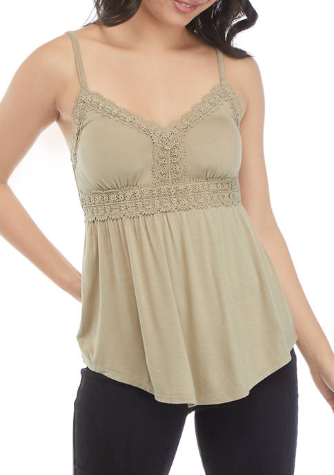 American Rag Womens Molded Cup Lace Trim Camisole