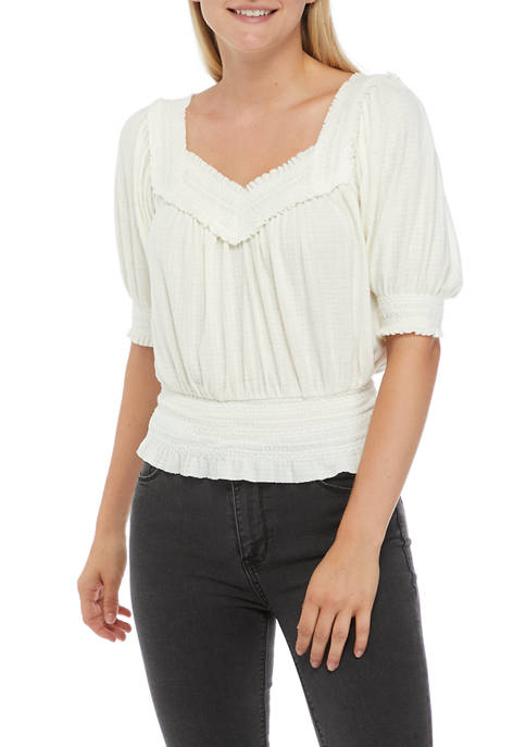Womens Smocked Sweetheart Neck Top