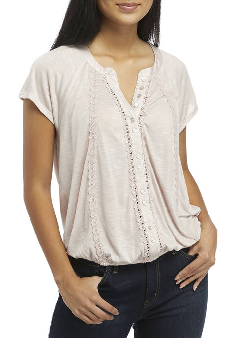 American Rag Womens Lace Trim Top with Knit