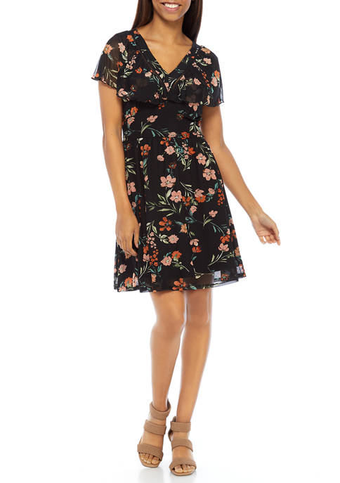 Womens Floral V-Neck Tie Back Dress