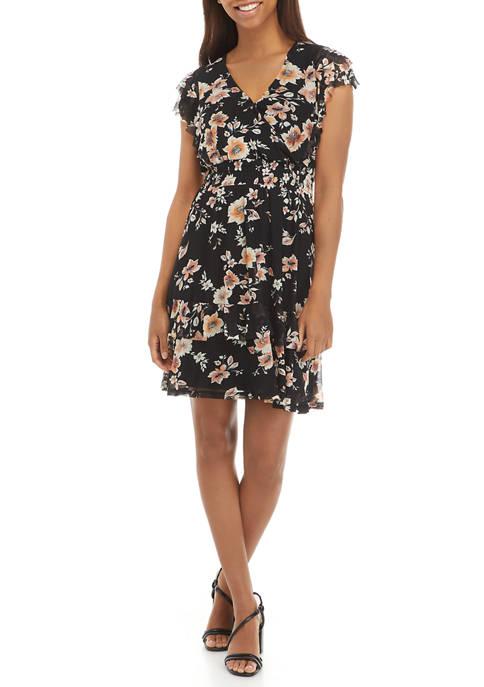 Womens Flutter Sleeve Ruffle Dress