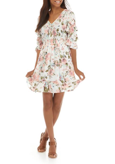 Womens Ruffle Sleeve Smock Waist Dress