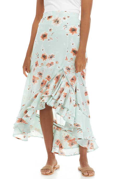 Womens Two Tier High Low Maxi Skirt