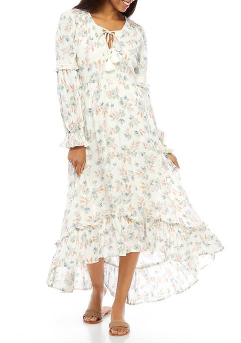 Womens Floral Lace Front Trim Peasant Dress