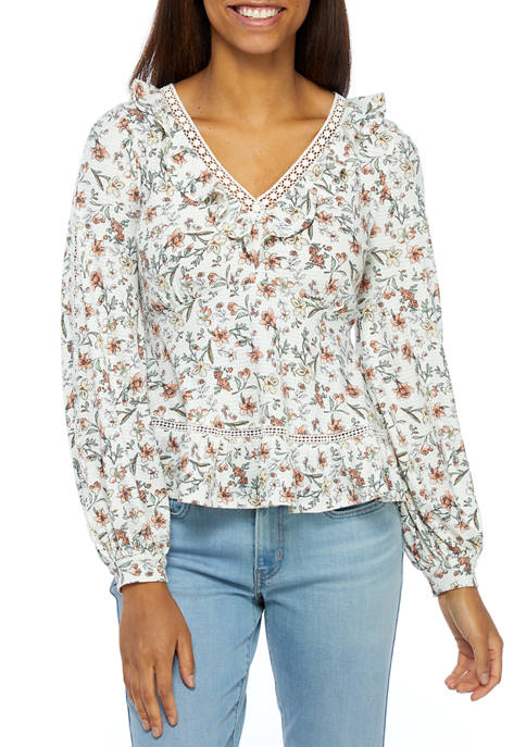 Womens Floral Long Sleeve Ruffle V-Neck Top