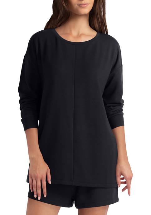 H Halston Studio Bushed Fleece Long Sleeve Pullover