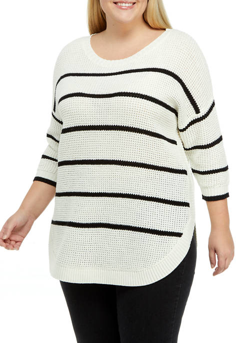 Dex Plus Size Striped Crew Neck Sweater