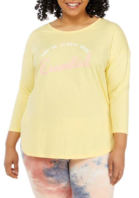 Studio Plus Size 3/4 Sleeve Graphic T-Shirt