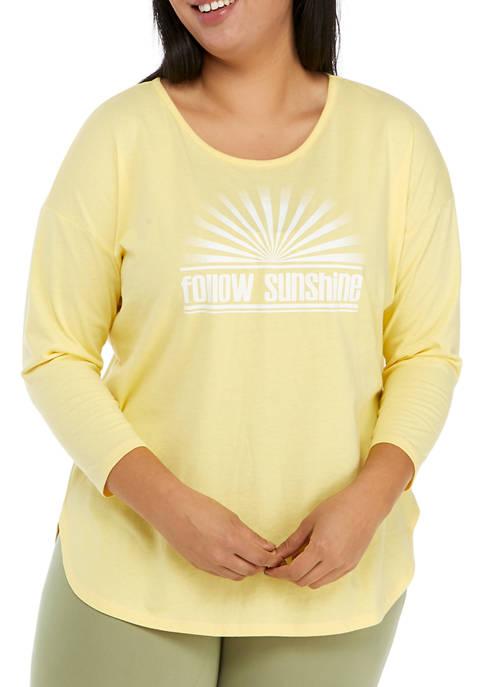 Studio Plus Size 3/4 Sleeve Follow Sunshine T-Shirt