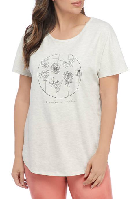 Studio Womens Short Sleeve Floral Graphic T-Shirt