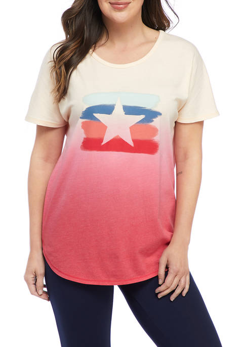 New Directions® Studio Womens Dip Dye Star Graphic