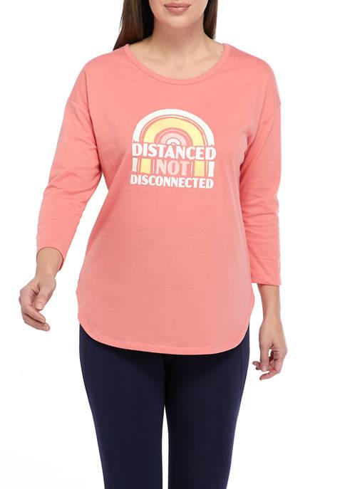 Studio Womens 3/4 Sleeve Distance T-Shirt