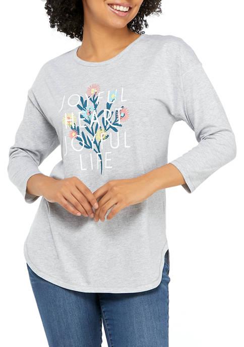 New Directions® Studio Womens 3/4 Sleeve Joyful Graphic