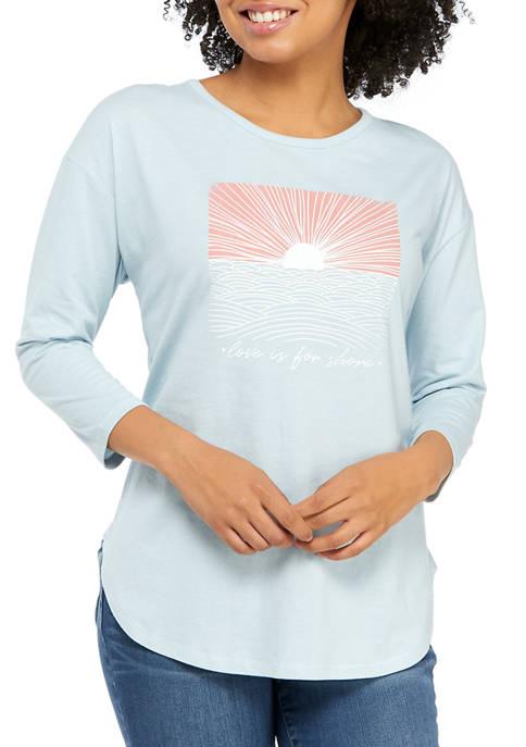 Studio Womens 3/4 Sleeve Shore Graphic T-Shirt