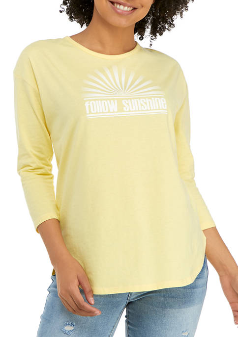 Studio Womens 3/4 Sleeve Follow Sunshine Graphic T-Shirt