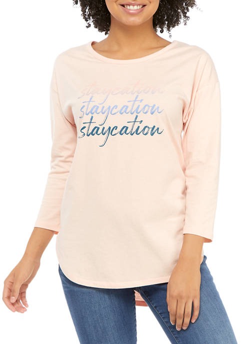 Studio Womens 3/4 Sleeve Staycation Graphic T-Shirt