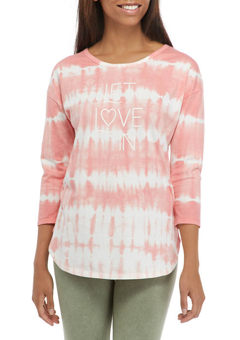 Studio Womens 3/4 Sleeve Tie Dye Let Love In Graphic Top