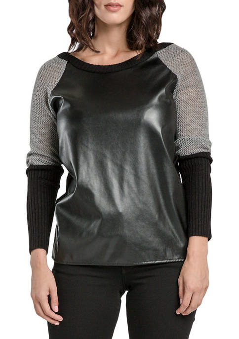 Miss Halladay Leather Front Sweater