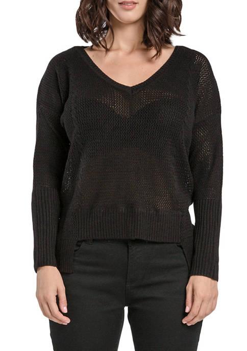 Miss Halladay Womens Hi-Low Hem Sweater