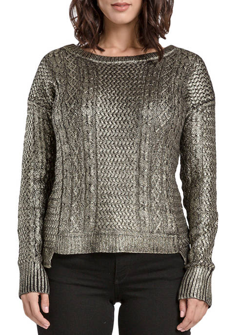 Miss Halladay Matalic Coating Sweater Top