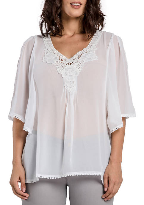Miss Halladay Womens Georgette Boho Tunic Blouse