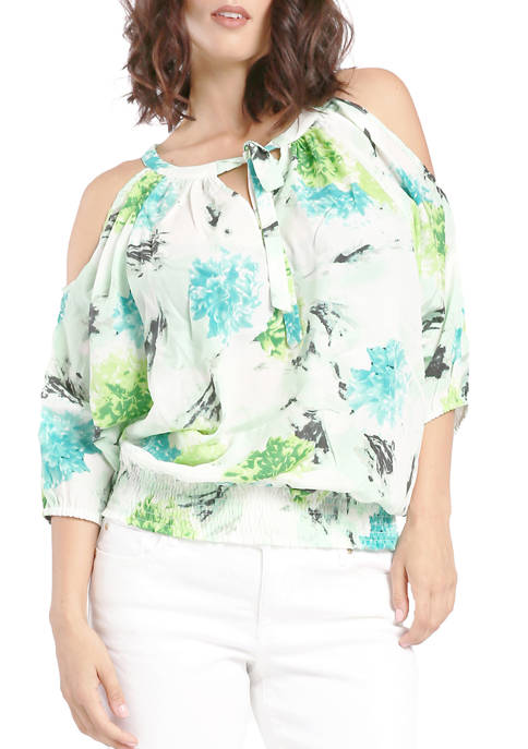 Miss Halladay Womens Printed Cold Shoulder Blouse