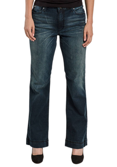 Miss Halladay Womens Flap Pocket Flare Jeans