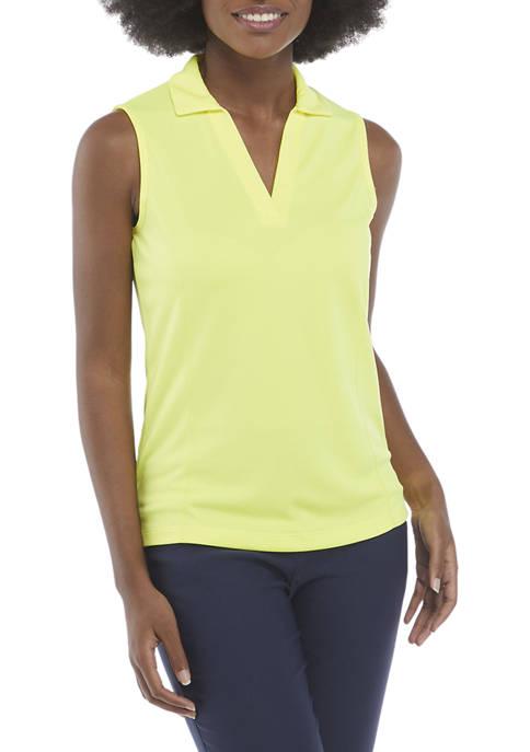 Sleeveless Solid Polo Shirt