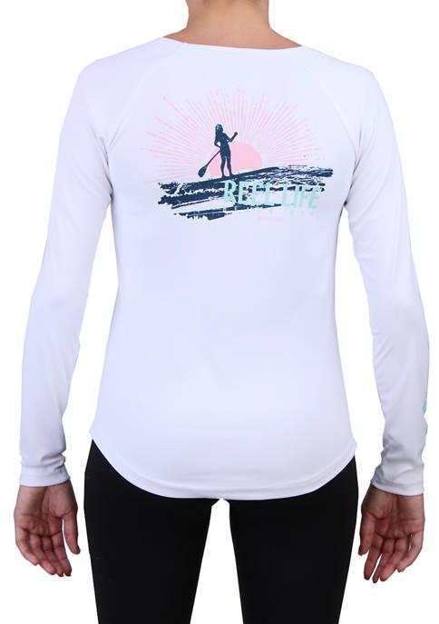 Womens Long Sleeve Sunset Paddleboard Performance T-Shirt