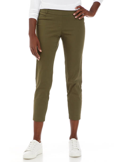 Womens Fly Front Combed Cropped Pants