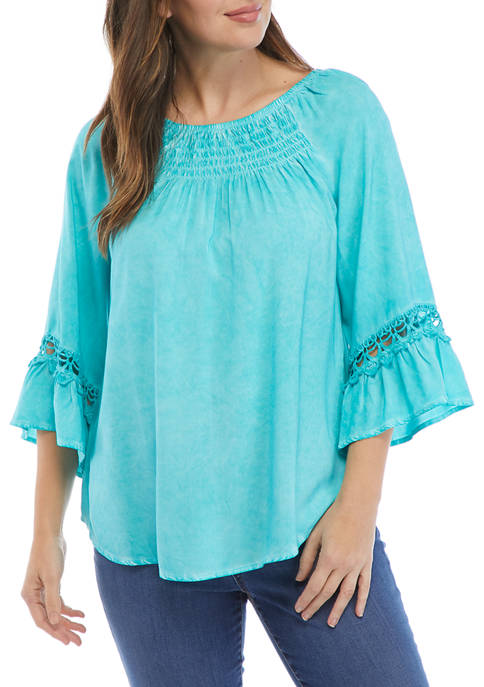 Womens Embroidered Bell Sleeve Top