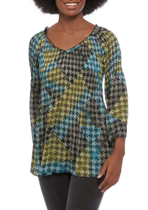 floral & ivy Womens Bell Sleeve Houndstooth Print