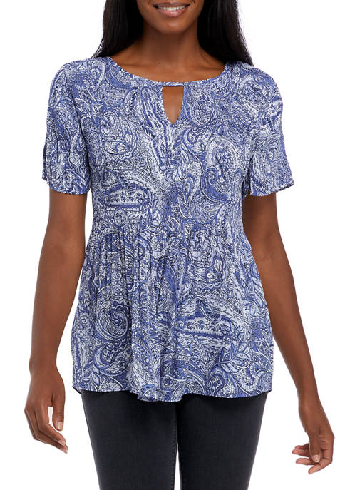 floral & ivy Womens Short Sleeve Keyhole Pleater