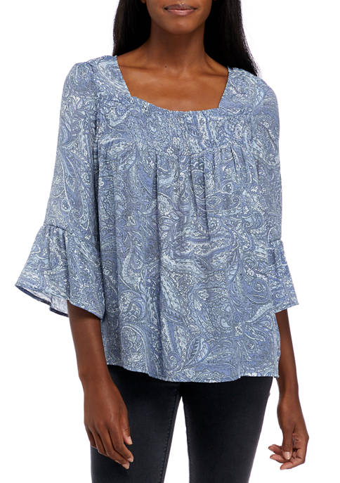 floral & ivy Womens Square Neck 3/4 Sleeve