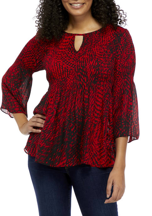 floral & ivy Womens Bell Sleeve Animal Print